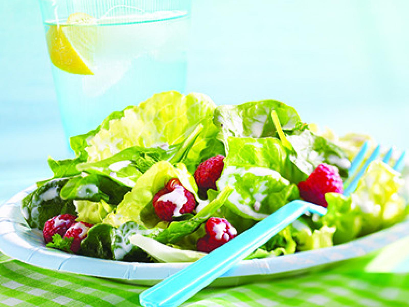 Green Salad with Raspberries and Cream